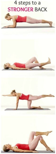 Tone up with these 4 Simple Steps to a Stronger Back. Do these exercises, from physical therapist Renée Garrison, for five minutes a day to help ward off low back pain. | Health.com Fitness Workouts, Lower Ab Workouts, Butt Workout, Easy Workouts, Yoga Fitness, Fitness Tips, Health Fitness, Low Back Exercises, Core Muscle Exercises