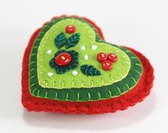 Felt Heart Christmas Ornament, Red and Green heart.