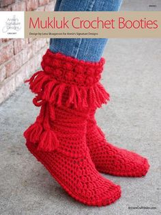 Keep feet warm while being in style with these adorable Mukluk booties. They are crocheted using 2 (3, 3, 3) skeins of King Cole Comfort Chunky #5 chunky-weight yarn. Size: Women's S 5-6 (M 8; L 9-10; XL 11-12).  Skill Level: Intermediate  http://www.maggiescrochet.com/products/mukluk-crochet-booties