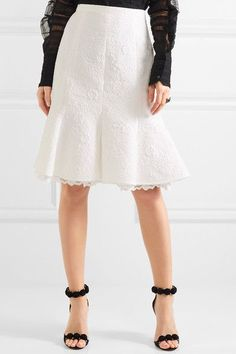 White cotton-blend cloqué and lace Concealed hook and zip fastening at back 73% cotton, 17% silk, 10% nylon; trim: 48.4% cotton, 31% nylon, 20.6% rayon; lining: 100% silk Dry clean Made in Italy