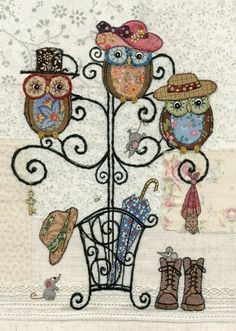 Owl Hatstand by Amy Butcher Quilt Block Patterns, Applique Patterns, Greeting Cards Uk, Owl Wallpaper, Art Carte, Bug Art, Colorful Animals, Quilted Wall Hangings, Medium Art