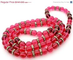 On Sale Pink Poured Glass Bead Necklace by TheJewelryLadysStore, $115.62