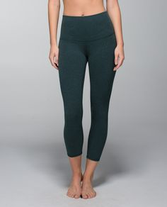 Wunder Under Crop II *Cotton (Roll Down)- heathered fuel green Lulu Love, We Wear, How To Wear, Lululemon Wunder Under, Athletic Outfits, Workout Leggings, Gym Workouts, Perfect Fit, Cotton