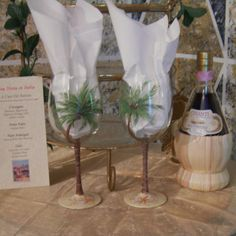 Palm tree hand painted wine glasses by GlassesbyJoAnne on Etsy, $40.00