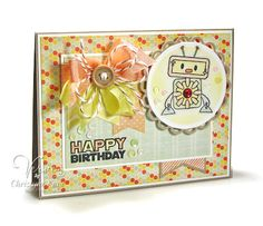 Card by Christyne Kane using Birthday Bots from Verve Stamps.  #vervestamps