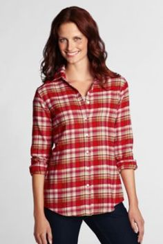 Women's Long Sleeve Pattern Flannel Shirt from Lands' End | I want ...