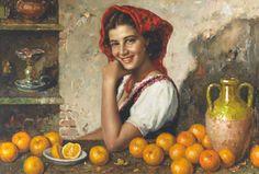 """Bimba con le arance"" (Young Girl With Oranges) by Luigi Amato (1898 – 1961, Italian)"