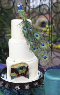 multi-colored peacock wedding cake