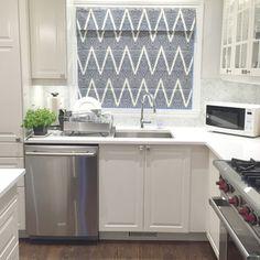 Roman shade. Navy and cream chevron pattern fabric. Stephanie Fortier Design