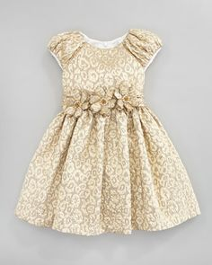 Brocade Floral-Belt Dress, Gold, Sizes 2Y-10Y by David Charles at Neiman Marcus.