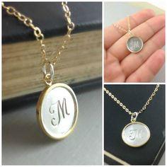 Monogram Necklace Initial Jewelry Gold by anatoliantaledesign, $48.00