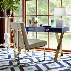 Jonathan Adler Goldfinger Dining Chair – Modern Home Office Design Home Office Desks, Home Office Furniture, Luxury Furniture, Office Decor, Furniture Design, Office Ideas, Office Chairs, Modern Furniture, Unfinished Furniture