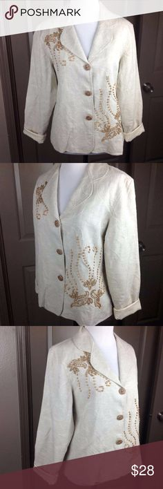 Coldwater Creek Blazer Jacket PS Bead Embroidered Great Condition Coldwater Creek Blazer Jacket PS Wooden and Gold Beaded Floral Embroidered Beige  47/41/12 Cotton/Rayon/Jute 22 inch length 20 inch across bust Coldwater Creek Jackets & Coats Blazers