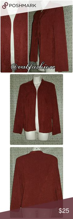 "DEEP BURGUNDY FAUX SUEDE OPEN FRONT BLAZER!! What could be more perfect for fall? This stunning faux suede blazer by Southern Lady is perfect! Open front perfectly accented with burgundy embroidery up both sides of the opening and around the neck. It has shoulder pads that are covered with matching materials sewn into place (last pic) for comfortable worry free wear! It is 97% polyester and 3% spandex. This can be worn dressy or casual! Length 24"" waist 37"" (with front touching) sleeves…"