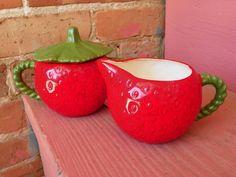 Strawberries and Cream Sugar and Creamer Set by leonardos on Etsy, $20.00 Strawberry Kitchen, Vintage Campers, Cream And Sugar, Strawberries And Cream, Cottage, Memories, House, Etsy, Haus