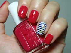essie watermelon navy nail art
