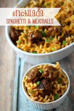 Enchilada Spaghetti & Meatballs Flavorful mexican twist on traditional spaghetti and meatballs. It is quick and delicious!  Perfect for busy nights!