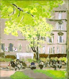 Jean Édouard Vuillard (1868-1940)   Femmes assises sur les bancs du Square Berlioz, Place Vintimille