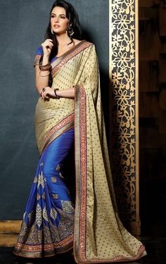 Picture of Luscious Blue and Buttercream Color Saree