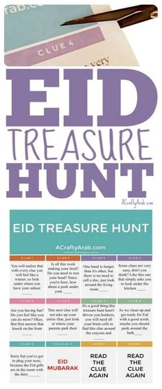 To wrap up Ramadan, I created a children Eid treasure hunt to solve clues, similar to one we enjoyed previously, before my kids received their Eid gifts. Eid Crafts, Ramadan Crafts, Ramadan Decorations, Eid Favours, Treasure Hunt Clues, Scavenger Hunt Clues, Muslim Culture, Eid Party, Ramadan Activities