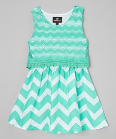 Another great find on #zulily! Mint Chevron Embellished A-Line Dress - Infant, Toddler & Girls #zulilyfinds