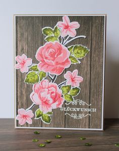 Birthday card created with Altenew Vintage flowers stamps and die set