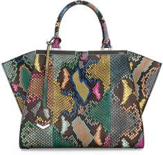 Fendi Trois-Jour Petite Painted Python Tote Bag, Multi