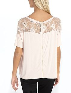 White basic tee with lace on the back