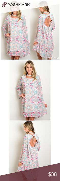 New Boho Peach & Teal Multi Pattern Key Hole Dress Boho Peach, Magenta & Teal Multi Pattern Key Hole LongSleeve Dress. Fabric 100% polyester. Price is Firm Unless Bundled. No Trades. GlamVault Dresses