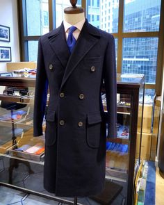 Navy blue wool double breasted coat