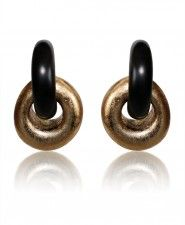 Monies Ebony and Gold Foil Clip Earrings