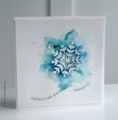 watercolor snowflake card #holidaycrafts