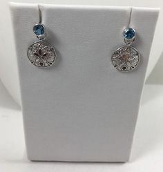 .925 Sterling Silver Earrings Sand Dollars 2.50gr Bezel set Blue Topaz -NEW #GianniDeloroLLC #DropDangle