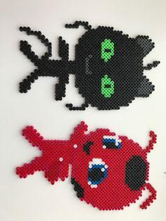 Ladybug and catnoir's kvami Easy Perler Beads Ideas, Diy Perler Beads, Perler Bead Art, Pearler Beads, Fuse Beads, Pearl Beads Pattern, Hama Beads Patterns, Beading Patterns, Lady Bug