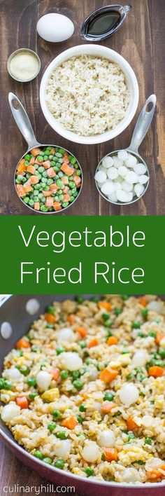 This Vegetable Fried Rice is faster, cheaper, and easier than buying takeout! It only has 6 ingredients and takes less than 10 minutes from start to finish. Made with brown rice!