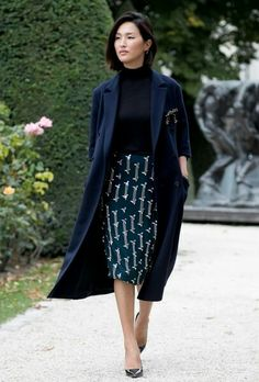 Navy everything, duster coat, turtleneck, pencil skirt, patent leather heels