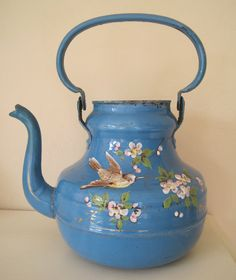 Huge French Enamel Tea Coffee Pot Vase French Blue by sprucedroost