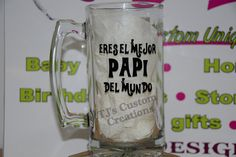 Dad Beer Mug - Father's Day Gift - Personalized Custom Design - Daddy Grandfather Papi - Birthday Gift by TJspersonalized on Etsy Fathers Day Mugs, Gifts For Father, Gifts For Mom, Happy Daddy Day, Easy Father's Day Gifts, Mom And Dad Quotes, Diy Glasses, Personalized Beer Mugs, Dad Mug