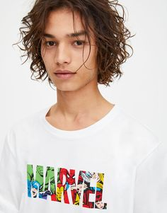 Short sleeve Marvel T-shirt with a round neckline and a multicoloured logo print on the chest featuring different heroes. Marvel Logo, Logan, Pull N Bear, T Shirt, Clothes, Inspiration, Products, T Shirts, White People