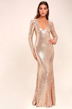 6ed3ecbdab61 Capture the Moon Rose Gold Long Sleeve Sequin Maxi Dress - Lulus