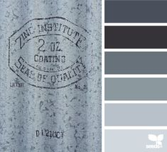 Galvanized Grays palette by Design Seeds Paint Color Palettes, Colour Pallette, Colour Schemes, Color Combos, Paint Colors, Wall Colors, Design Seeds, Decoration Inspiration, Color Inspiration
