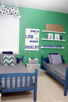 Soccer Boys Room Ideas. Great soccer artwork, bedding and decor ideas!