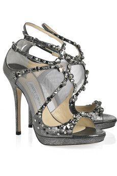 JIMMY CHOO Viola crystal-embellished leather and mesh sandals.
