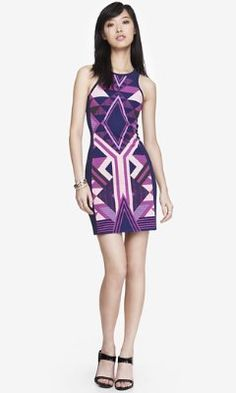 PURPLE PLACED AZTEC PRINT SHEATH DRESS from EXPRESS