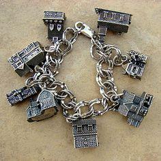 Dept 56 Christmas Village Silver Charm Bracelet