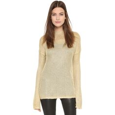 Georgia Alice Spangly Motel Sweater ($250) ❤ liked on Polyvore featuring tops, sweaters, gold, metallic top, slouchy sweater, brown sweater, slouchy tops and open-knit sweater