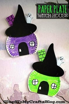 Wickedly Easy - Paper Plate Witch House Craft For Kids To Make This Halloween Season! kids crafts Wickedly Easy - Paper Plate Witch House Craft For Kids Halloween Arts And Crafts, Halloween Crafts For Toddlers, Theme Halloween, Toddler Crafts, Halloween Season, Children Crafts, Halloween House, Halloween Magic, Halloween Crafts Kindergarten