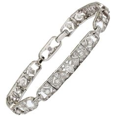 4987e9ffb9b View this item and discover similar link bracelets for sale at - One  Platinum Decorated With Diamonds Art Deco Flexible Link Bracelet Exhibiting  Beautiful ...