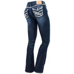 Amethyst Dark Denim Bootcut Jeans ($20) ❤ liked on Polyvore featuring jeans, pants, bottoms, denim, dark blue denim jeans, amethyst jeans, flap pocket jeans, boot-cut jeans and boot cut jeans