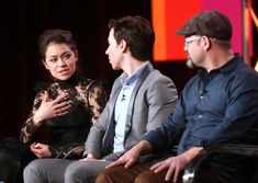 Tatiana Maslany and Jordan Gavaris and writer and co-creator Graeme Manson speak onstage during the 'Orphan Black ' panel discussion at the BBC America portion of the 2014 Winter Television Critics Association tour at the Langham Hotel on January 11, 2014 in Pasadena, California. - 2014 Winter TCA Tour - Day 3